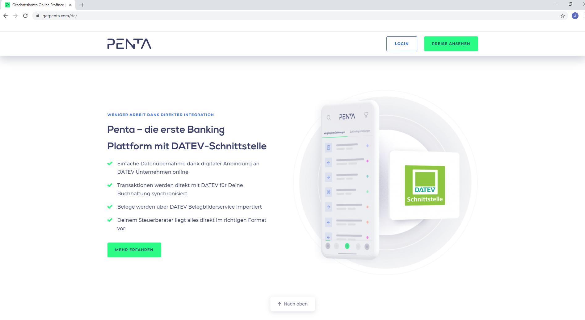 FinTech Penta Datev Schnittstelle
