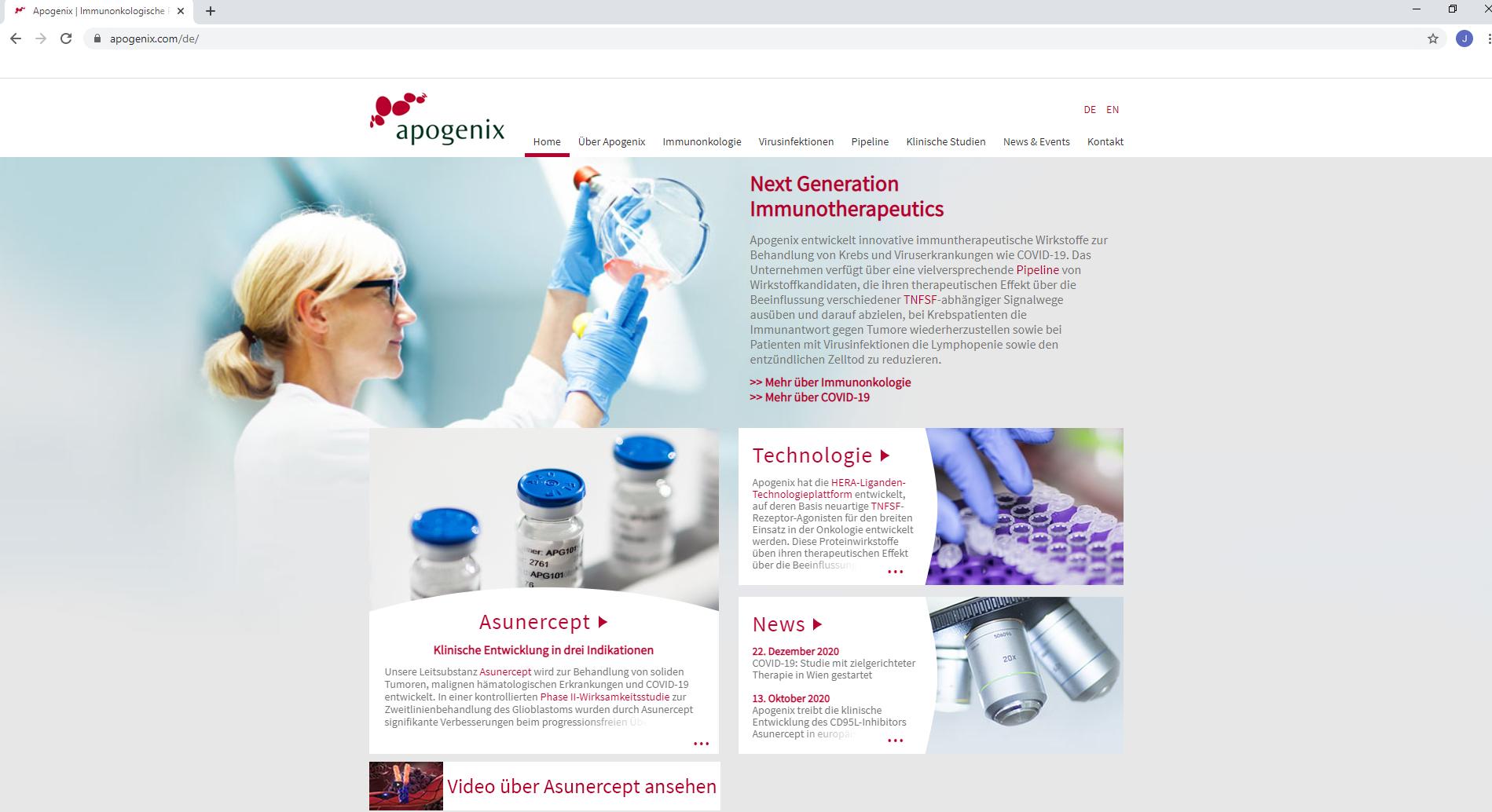 Uni Wien und Apogenix starten COVID-19-Studie mit zielgerichteter Therapie